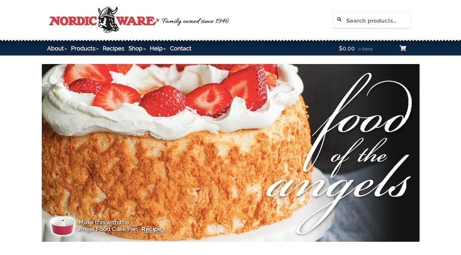 Il sito di ecommerce e ricette di Nordic Ware usa una barra per la ricerca dei prodotti nell'header.