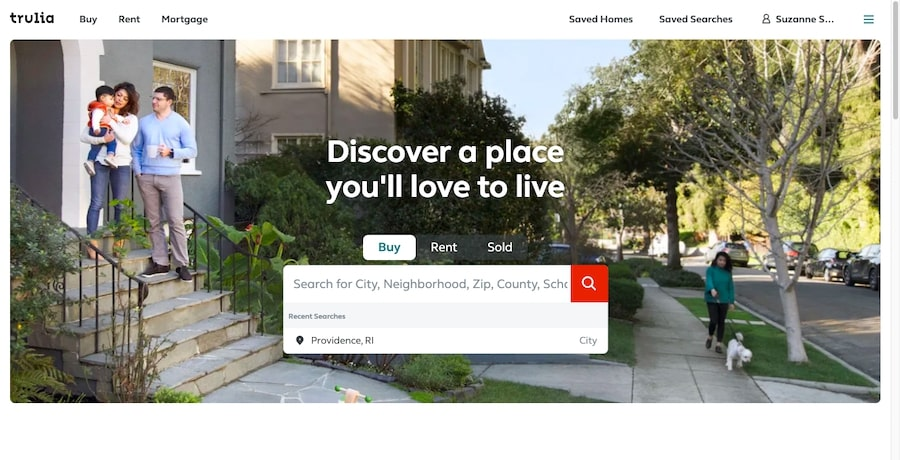 Trulia, come altri siti ad elenchi, posizione un form di ricerca sulla home page.