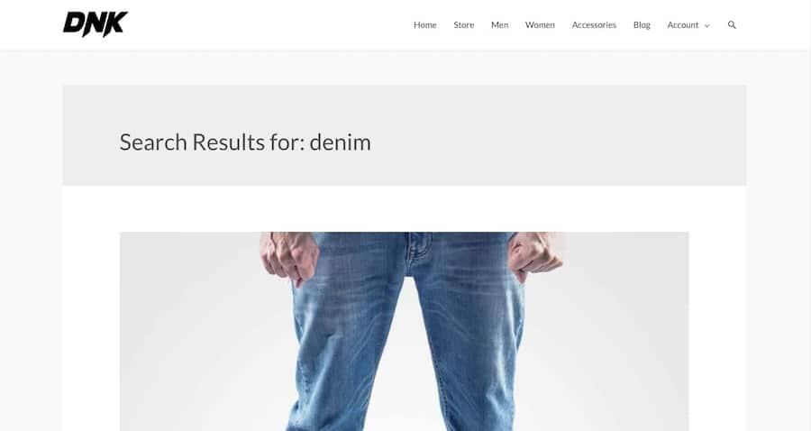 Un esempio di pagina dei risultati di ricerca per un sito ecommerce che mostra una grande immagine di prodotto