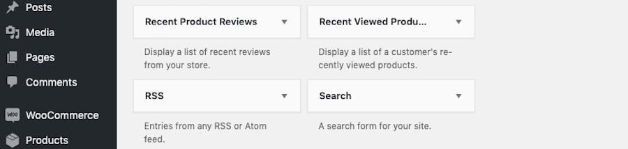 Dove trovare il widget Cerca in WordPress.