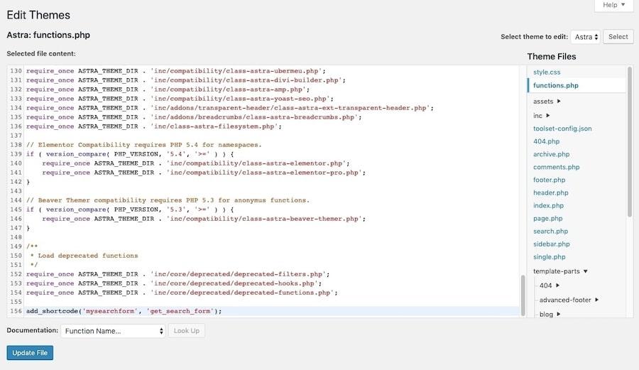 Aprire il file functions.php del tema dall'editor di WordPress
