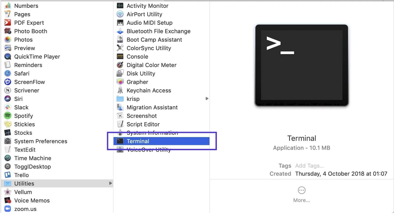 Trovare il terminale su Mac