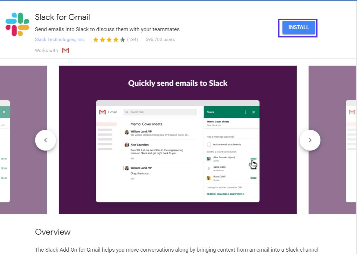 Fare clic sul pulsante di installazione per aggiungere un componente aggiuntivo a Gmail