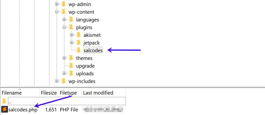 Annotate la posizione della directory dei plugin