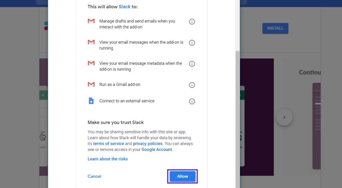 Concessione dell'autorizzazione al componente aggiuntivo Gmail