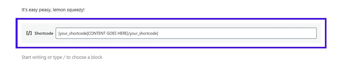 Il blocco di Gutenberg dedicato agli shortcode