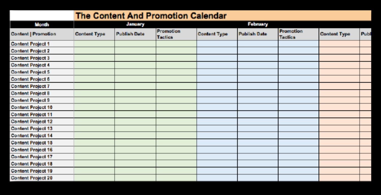 Un esempio di calendario di contenuti da utilizzare per promuovere i post del blog