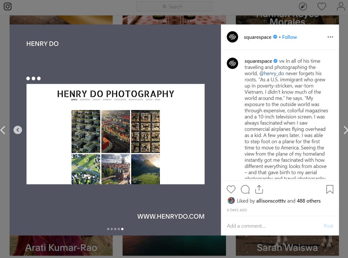 Campagna Instagram di Squarespace