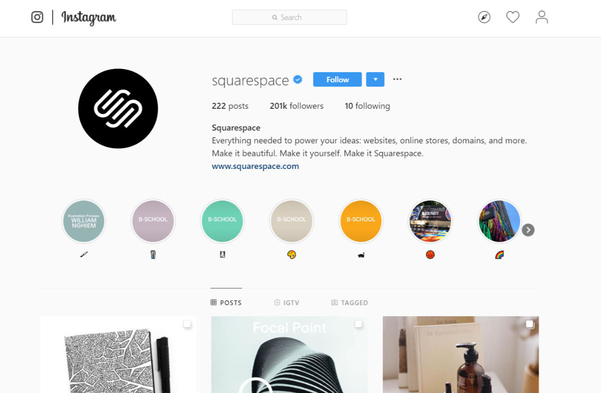 Account Instagram di Squarespace