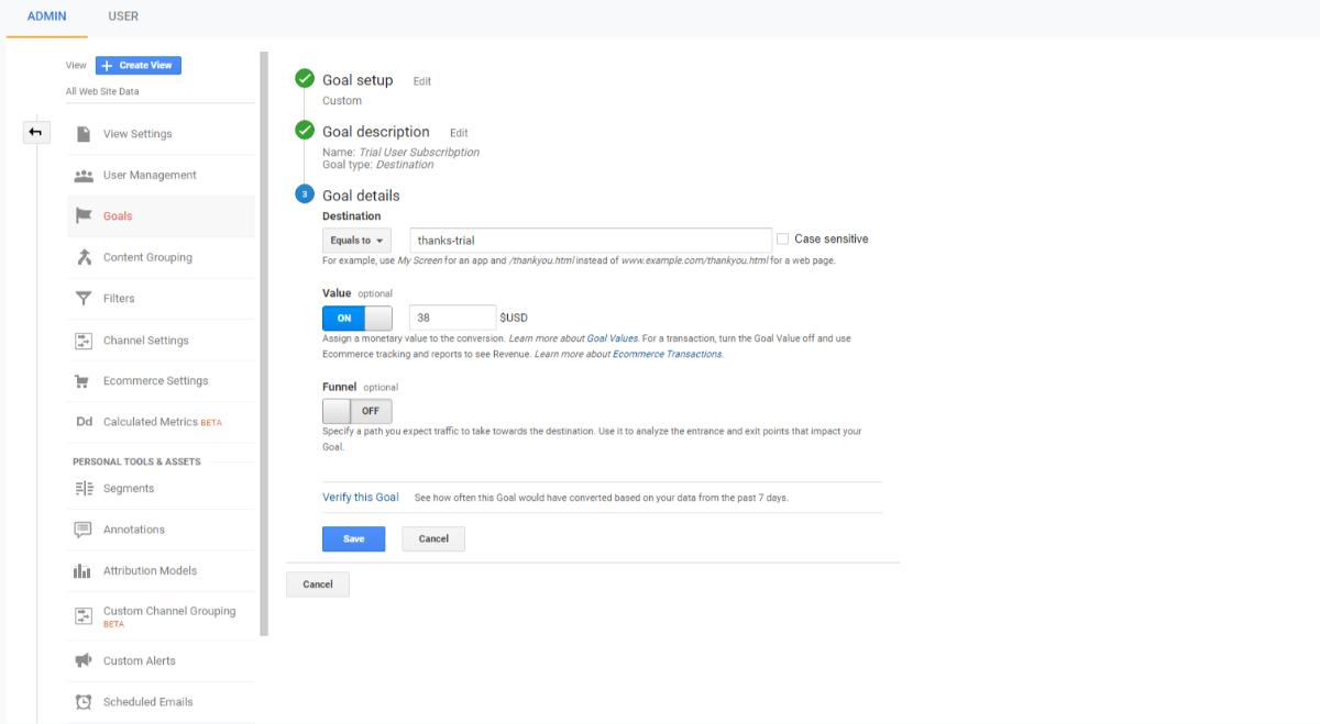 Impostazione degli obiettivi di Google Analytics