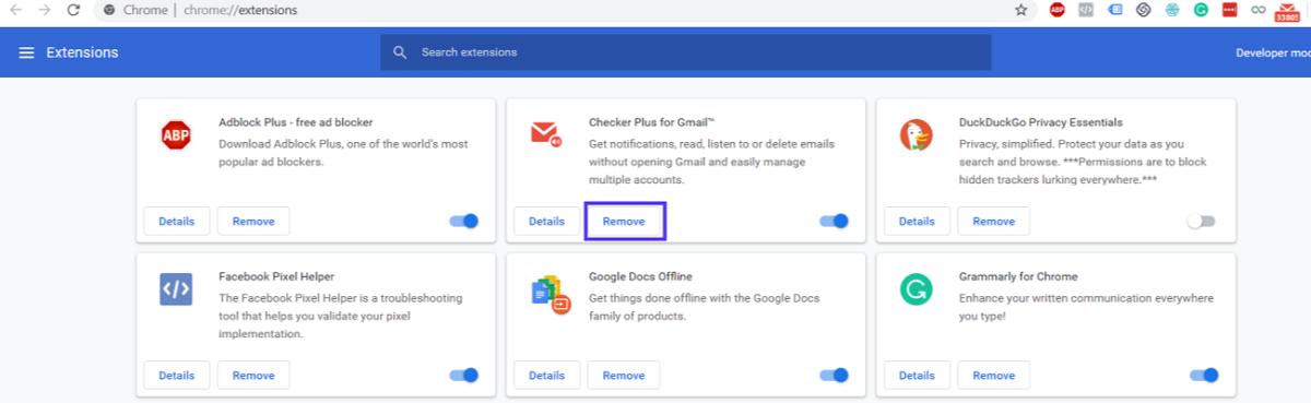 Opzioni estensioni di Google Chrome