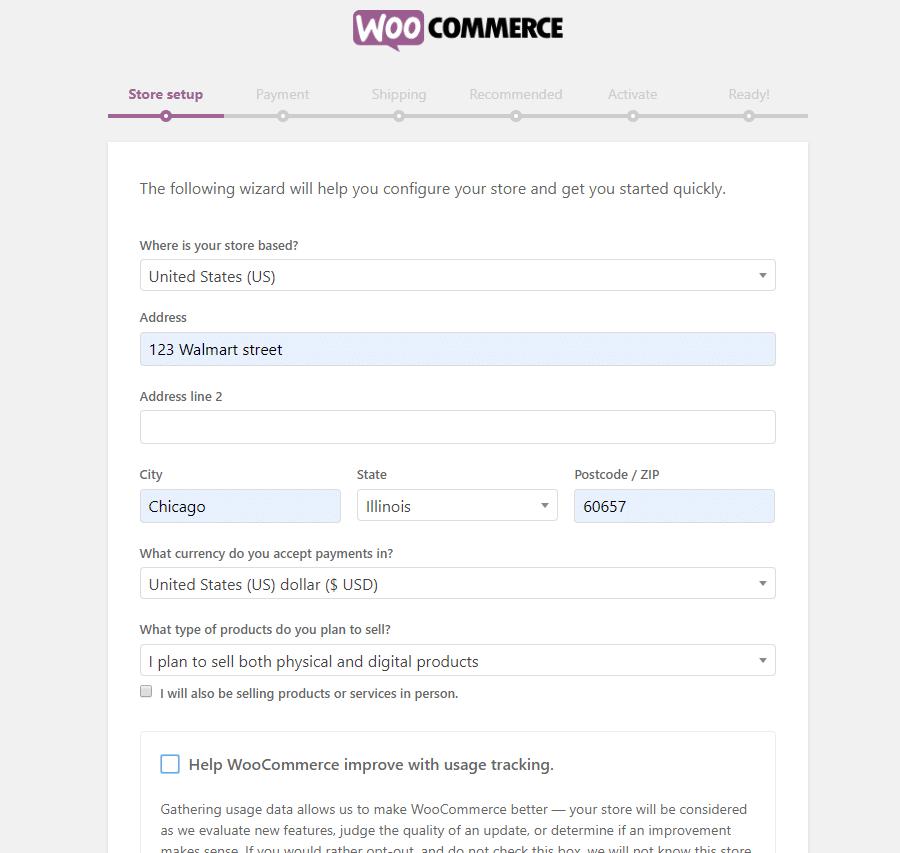 Pagina di installazione guidata di WooCommerce