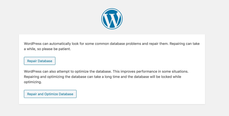 Pagina di riparazione del database
