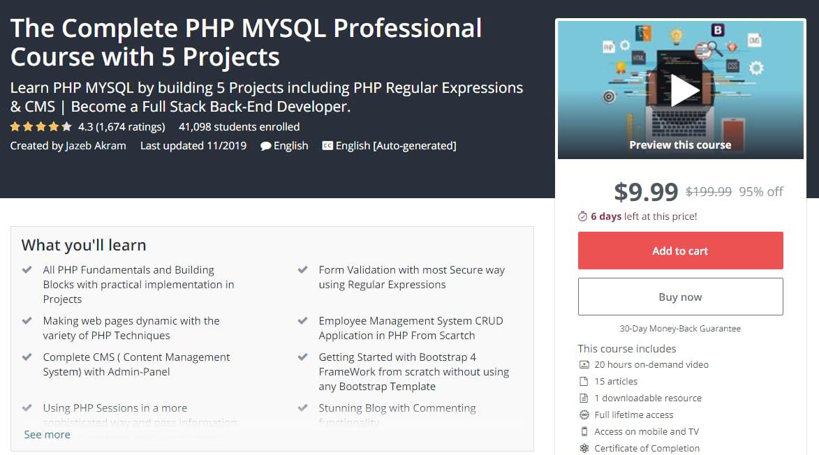 Corso professionale PHP MYSQL su Udemy