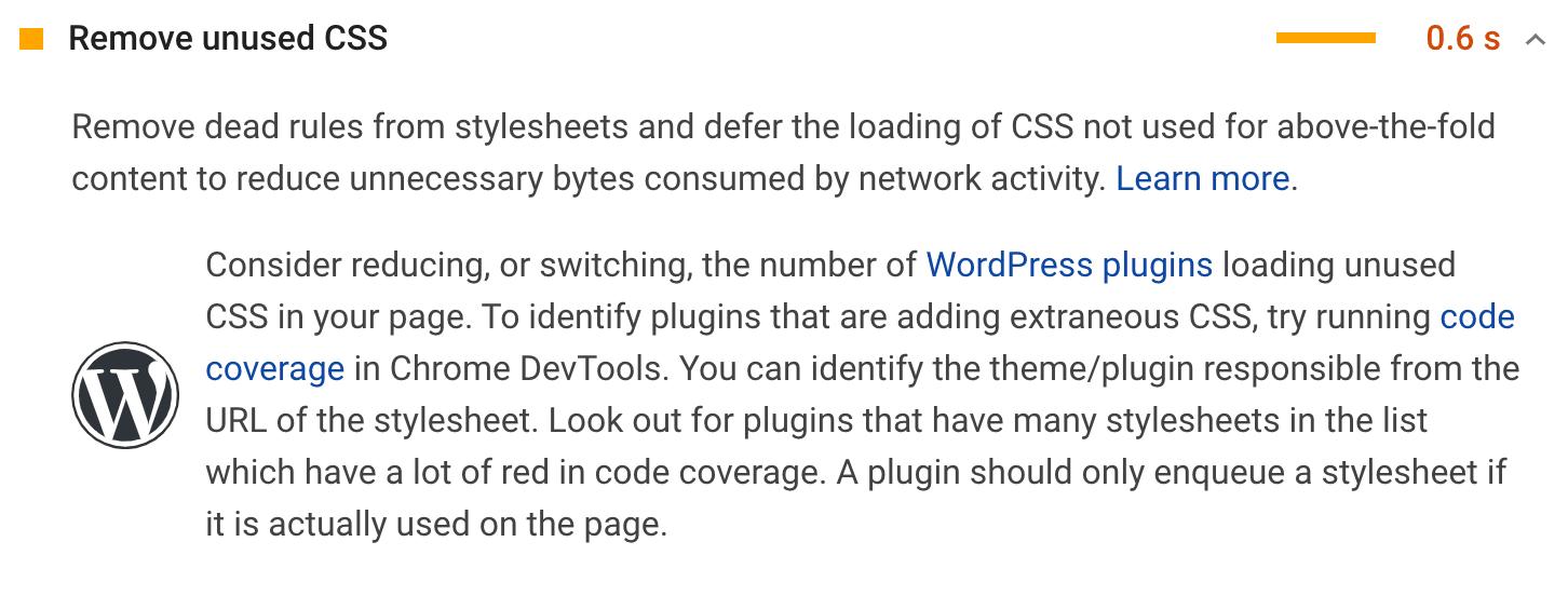 La raccomandazione Rimuovi il CSS Inutilizzato