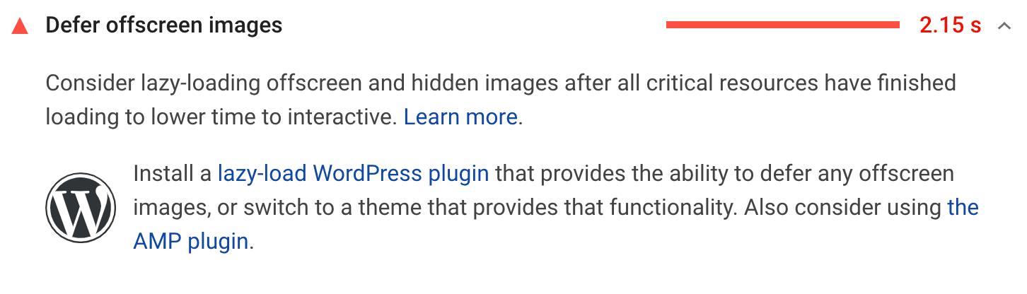 La raccomandazione Rimanda immagini fuori schermo
