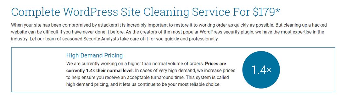 Servizio di pulizia dei siti WordPress di Wordfence