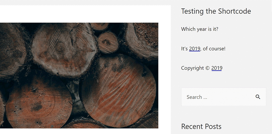 Risultato dello shortcode che indica l'anno