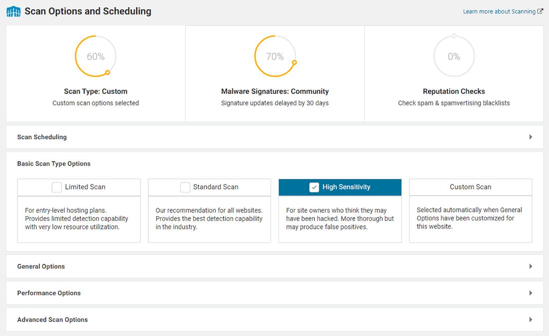 Wordfence dispone di ampie opzioni di scansione e programmazione