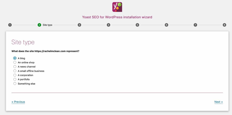 Yoast Wizard - tipo di sito web