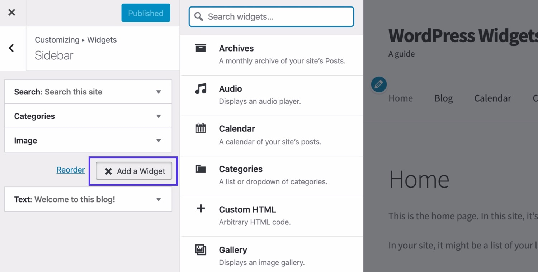 Aggiungere un pulsante per i widget