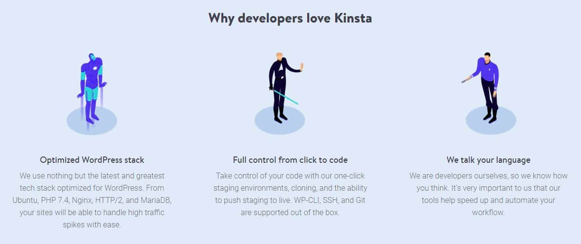 Caratteristiche di Kinsta per sviluppatori