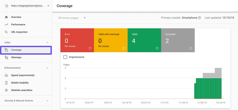 Report di copertura della Google Search Console