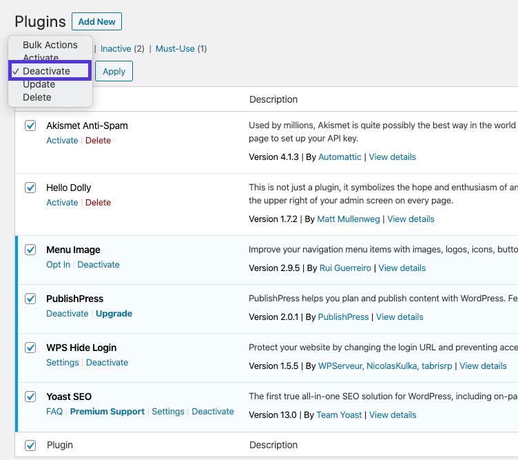 Disattivazione in blocco dei plugin WordPress sul backend