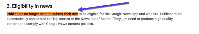 L'annuncio ufficiale di Google sull'idoneità a essere inseriti su Google News