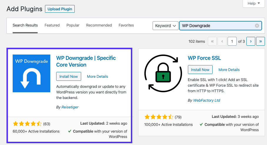 Installazione del plugin WP Downgrade