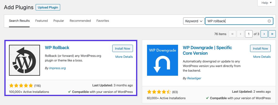 Installazione del plugin WP Rollback