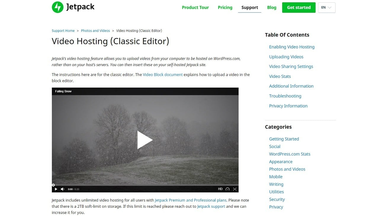jetpack video hosting
