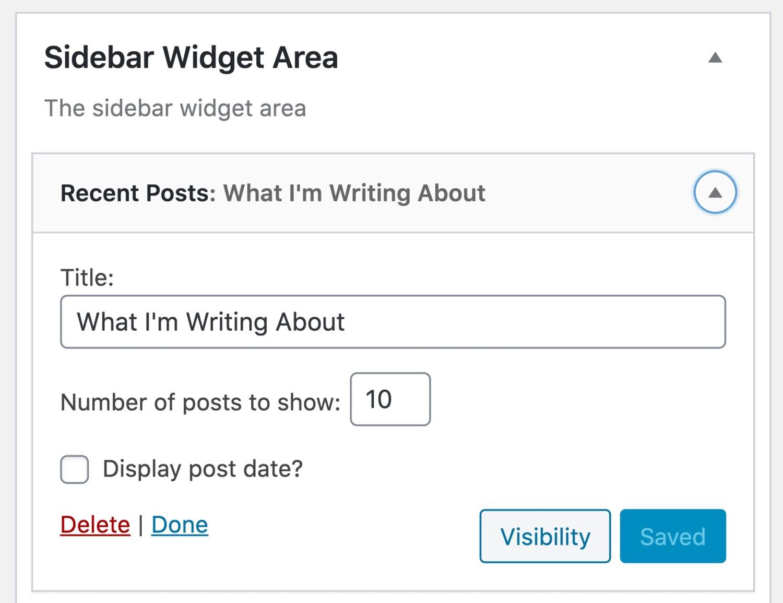 Modifica delle opzioni dei widget
