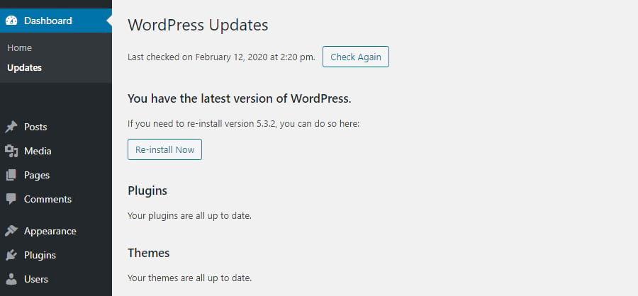 Schermata degli aggiornamenti di WordPress