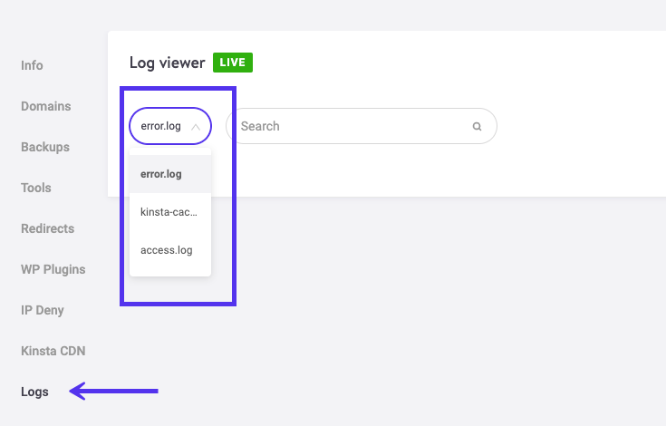 Log Viewer di MyKinsta