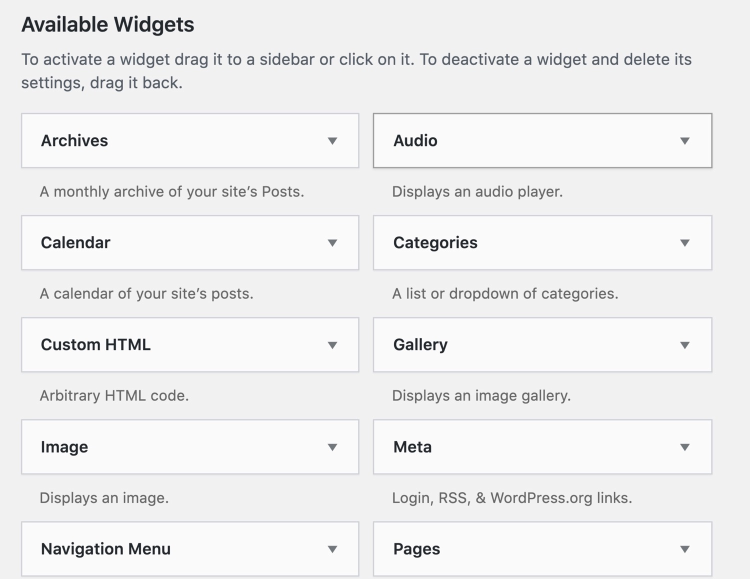 Widget WordPress preinstallati