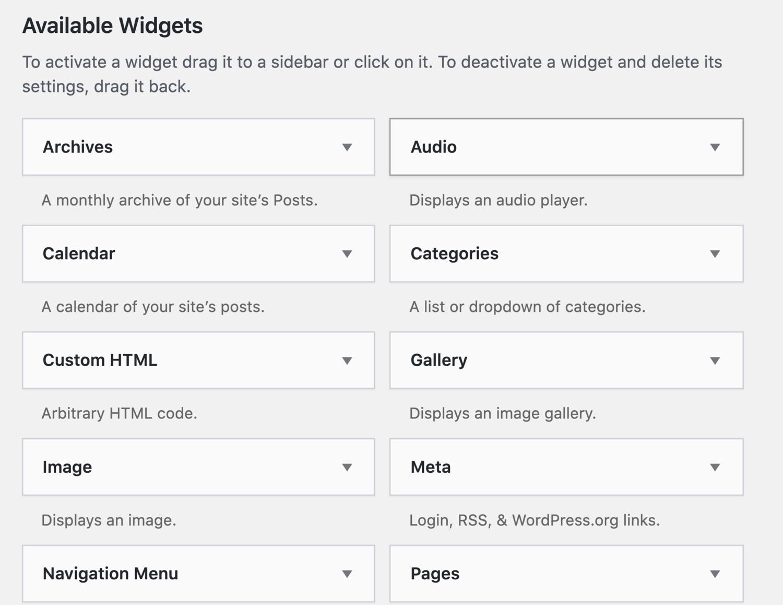 Widget WordPress preinstallati