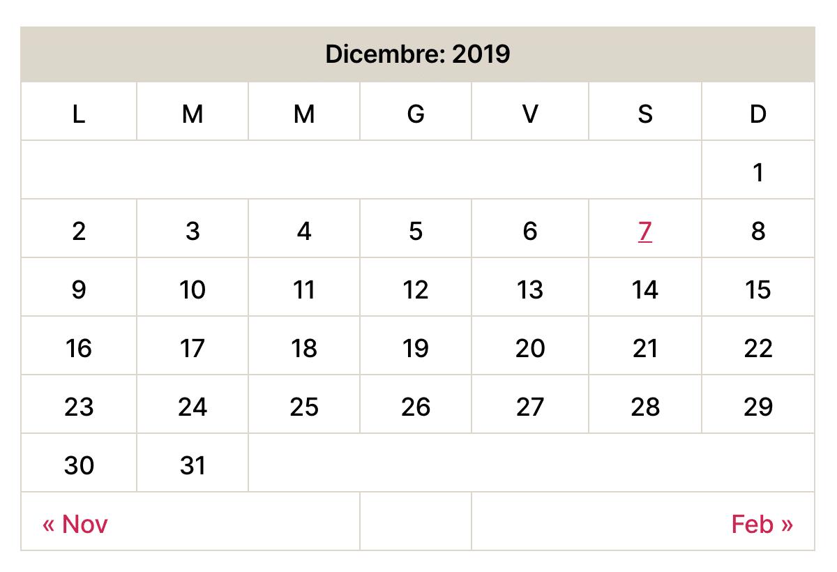 Vecchio widget del calendario