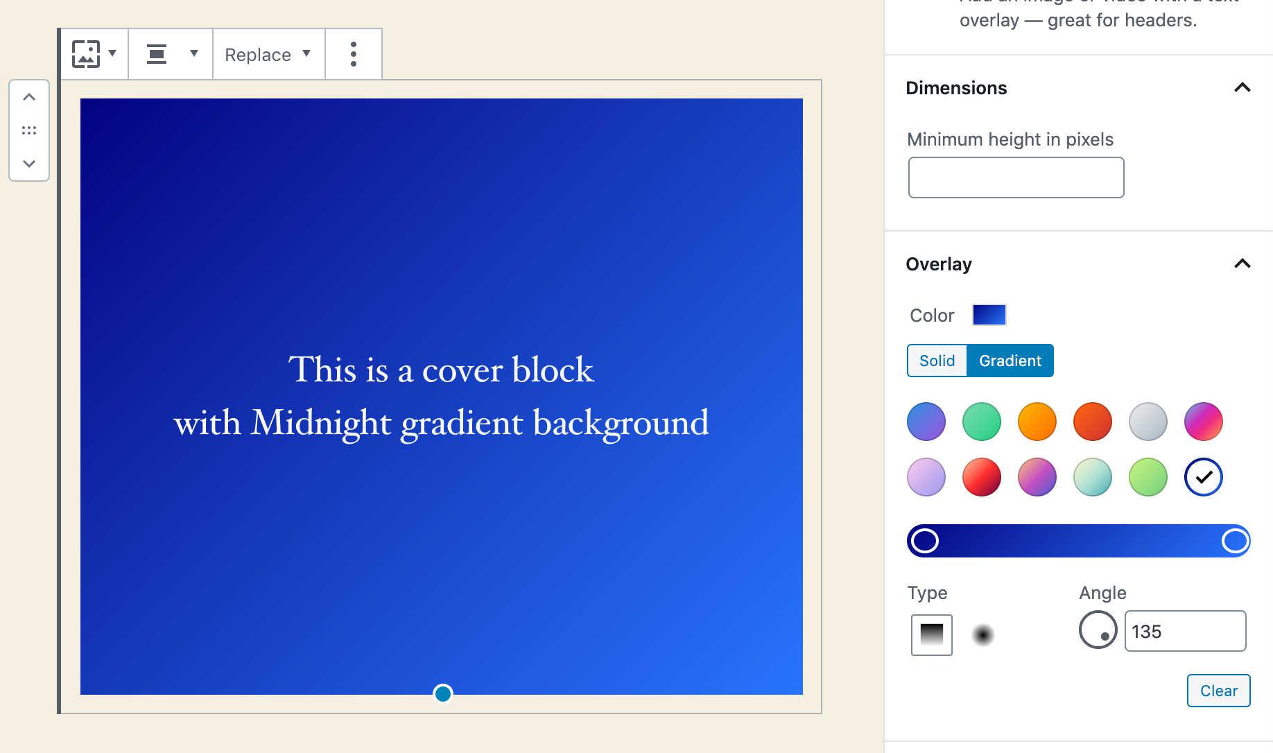 Blocco Cover con sfondo a gradiente preimpostato