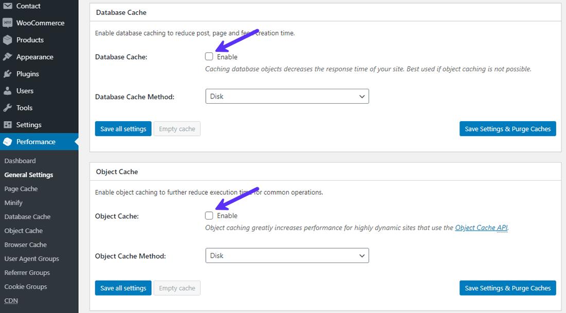 Disattivare database cache e object cache