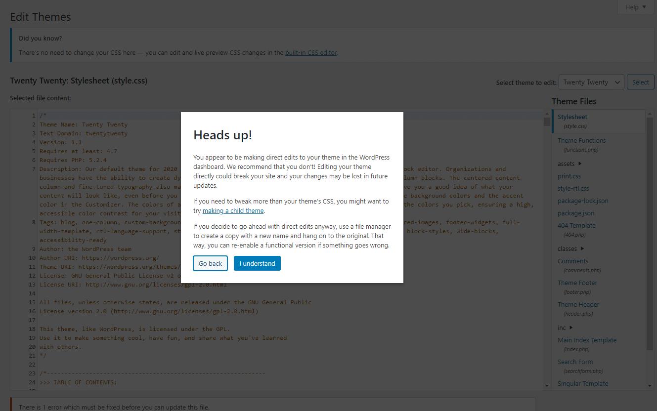 Effettuare modifiche dirette ai file WordPress