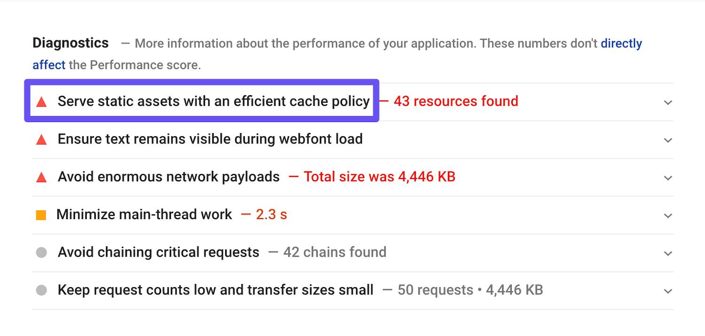 Avviso Pubblica le risorse statiche con criteri della cache efficaci in Google PageSpeed Insights