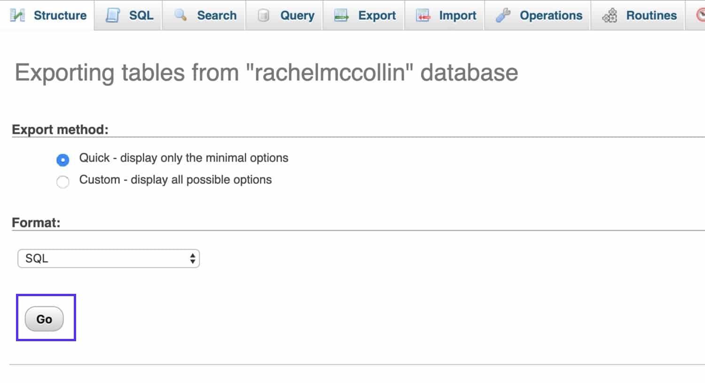 Esportazione delle tabelle dal database