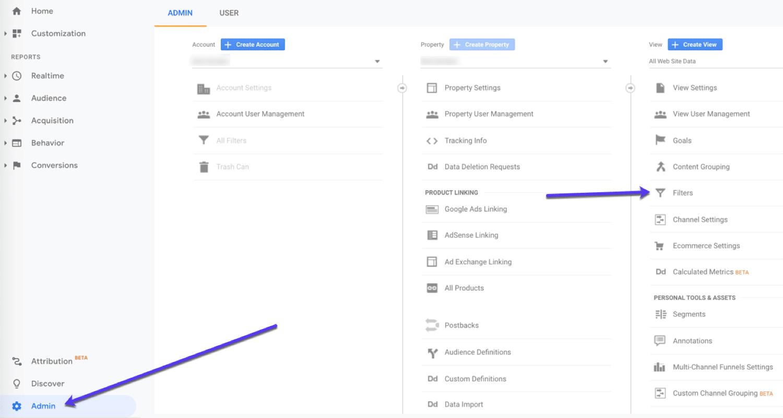 Utilizzare i filtri di Google Analytics per suddividere i dati.