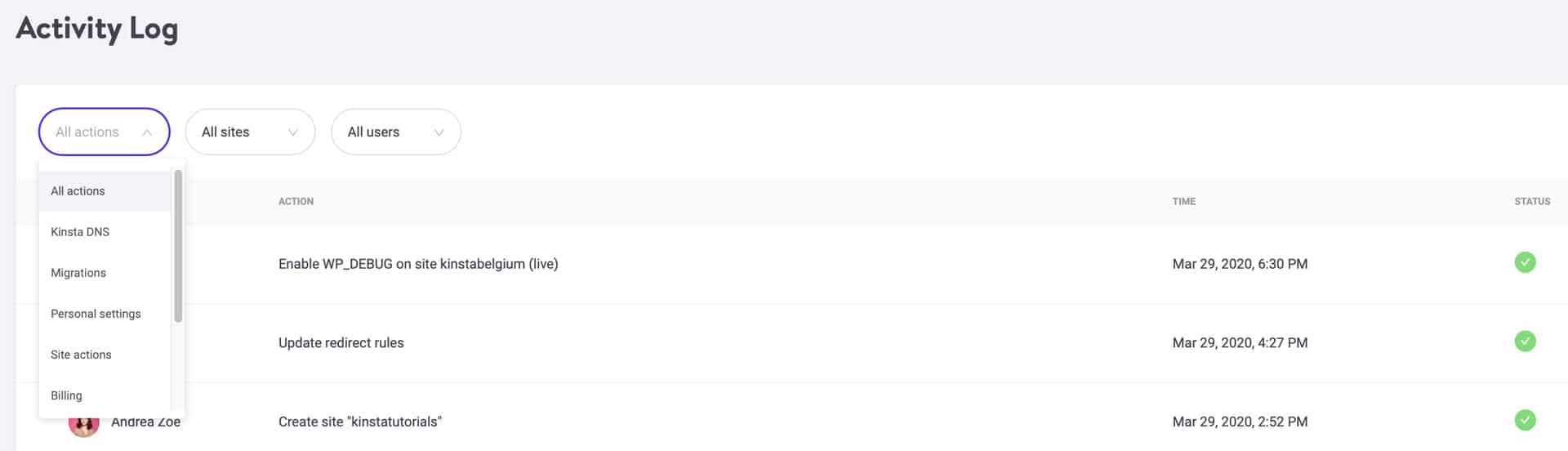 Il filtro per categoria del registro delle attività di MyKinsta