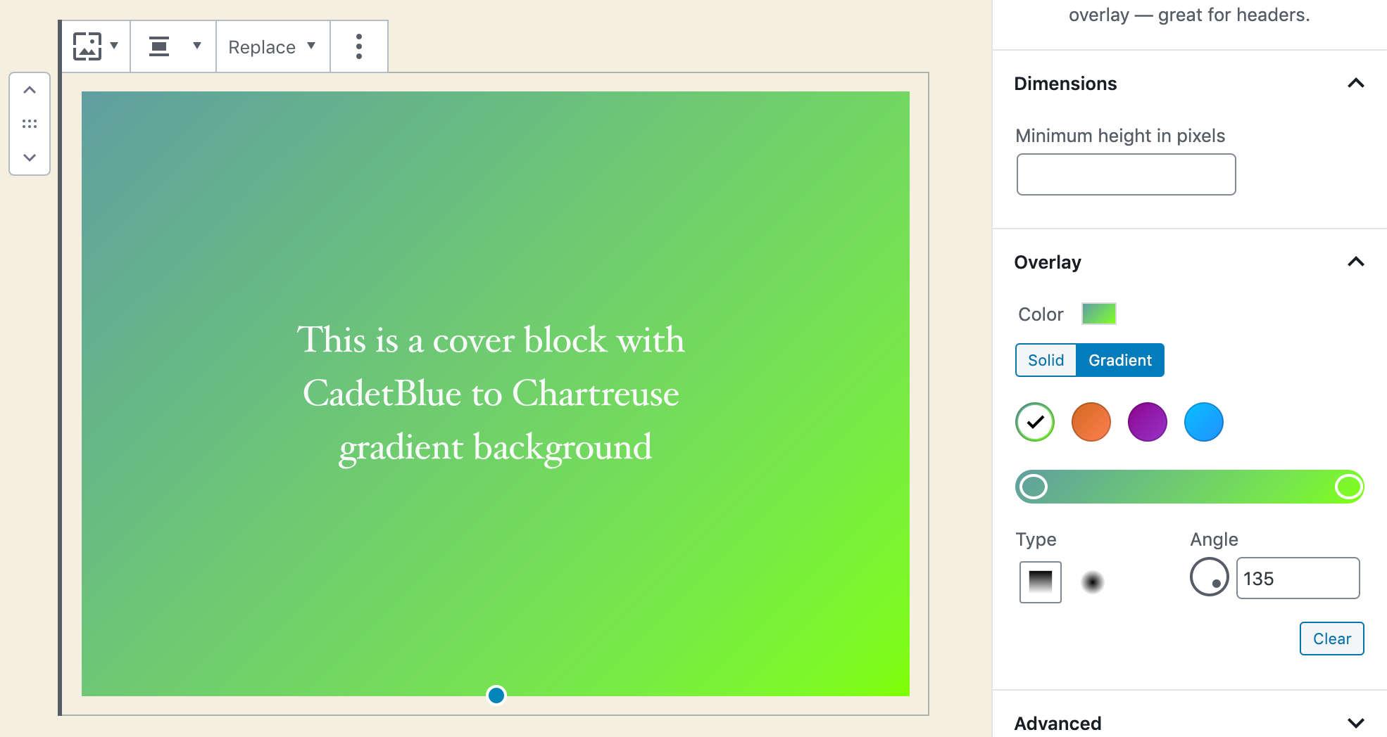 Preset personalizzati del gradiente in WordPress 5.4