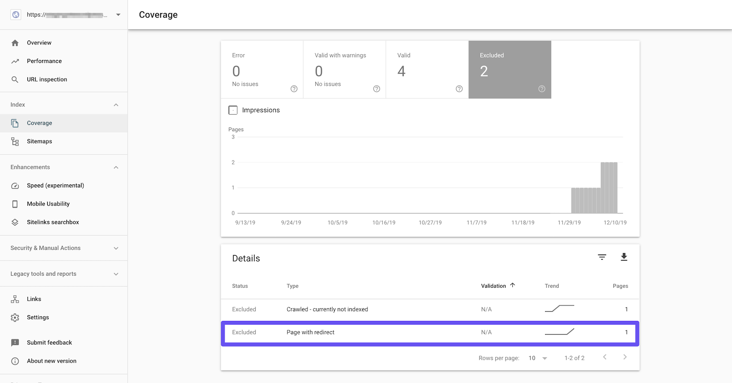 redirect search console