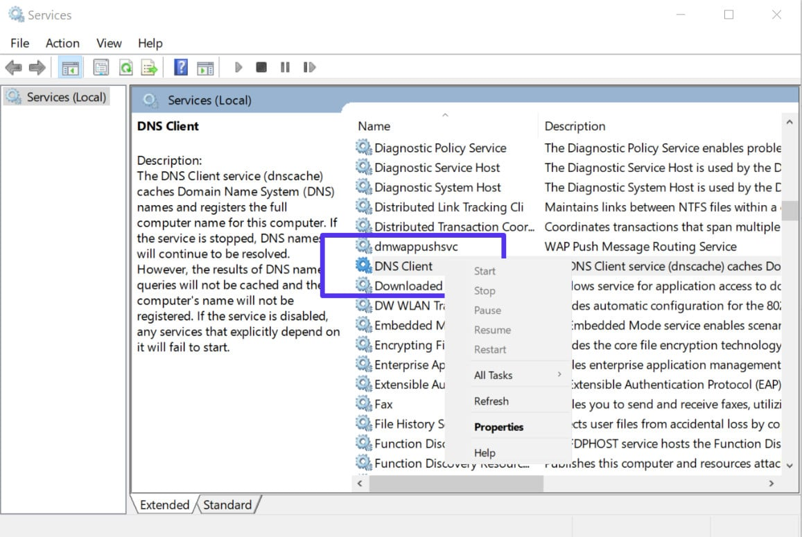 Riavviare il servizio client DNS in Windows