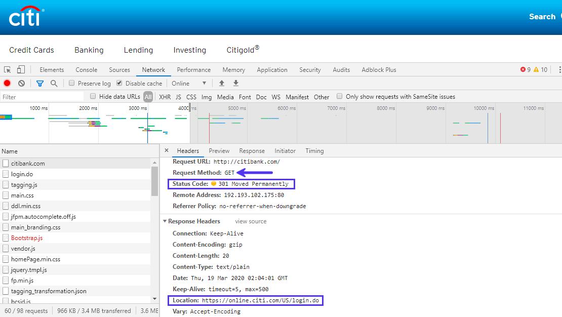 L'header della risposta di posizione definisce l'URL di reindirizzamento