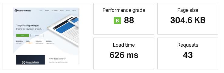 Un risultato del test di Pingdom con un URL mal formato